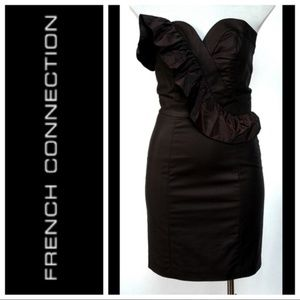 French Connection Black Ruffle Trim Cocktail Dress
